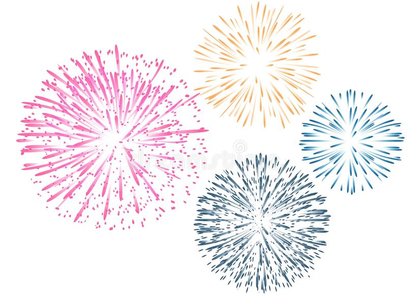 Fireworks isolated on white background. Illustrations design royalty free stock photography