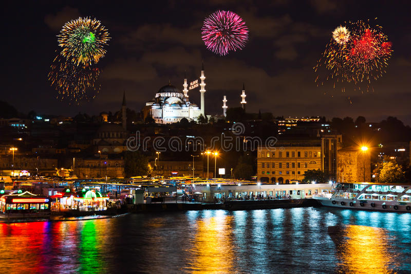 Fireworks in Istanbul Turkey. Holiday background stock images