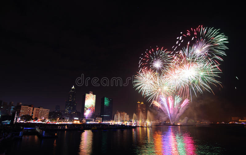 Fireworks in Kaohsiung riparian royalty free stock photo