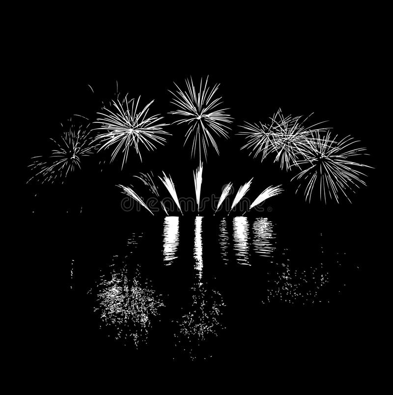 Fireworks. On lake with reflection vector illustration