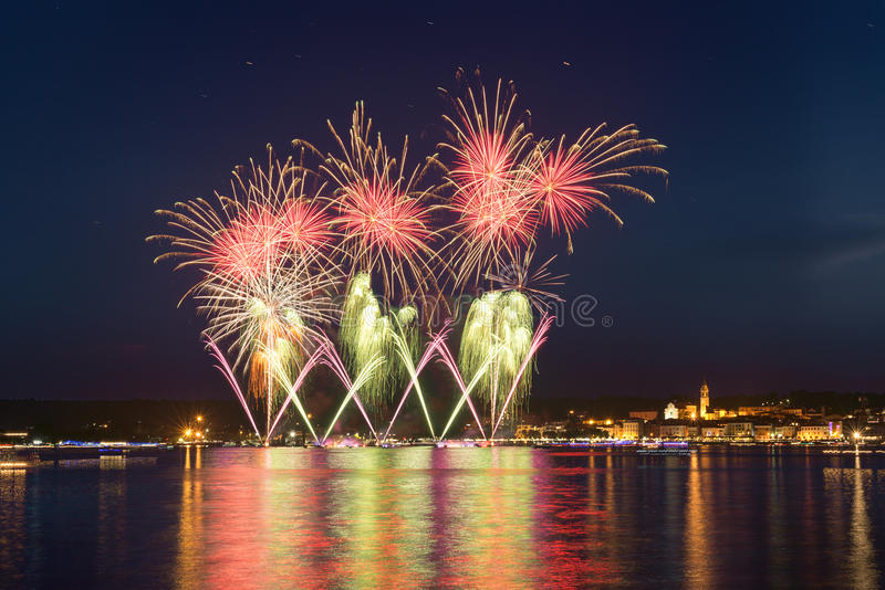 Fireworks, lakefront of Arona - Piedmont royalty free stock photography