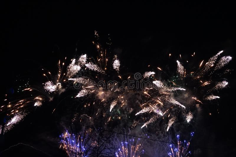 Fireworks. The large colored fireworks in Prague in the capital of the Czech Republic welcome the new year 2018 stock photos