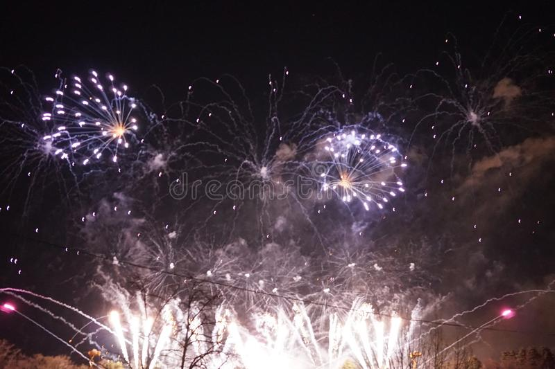 Fireworks. The large colored fireworks in Prague in the capital of the Czech Republic welcome the new year 2018 royalty free stock images