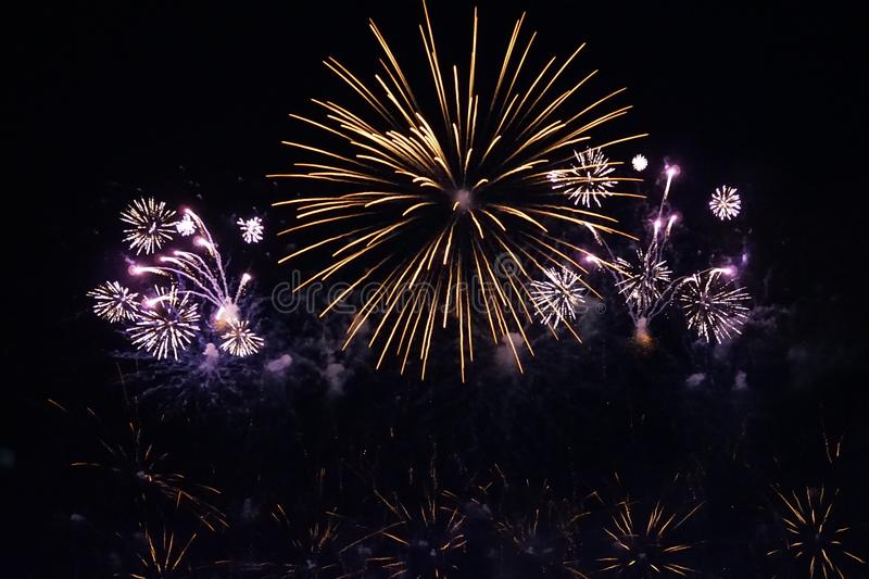 Fireworks. The large colored fireworks in Prague in the capital of the Czech Republic welcome the new year 2018 royalty free stock image