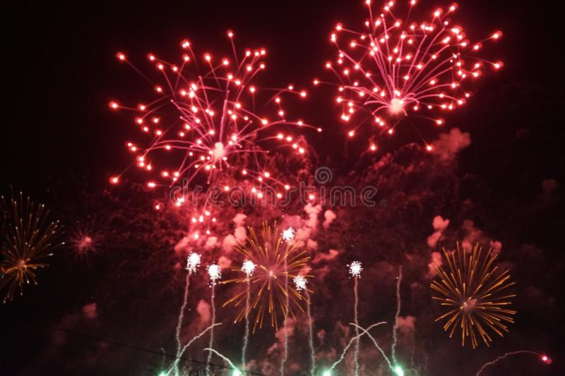 Fireworks. The large colored fireworks in Prague in the capital of the Czech Republic welcome the new year 2018 royalty free stock photography