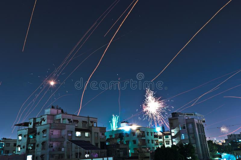 Fireworks and light trails on festival night India. royalty free stock photography