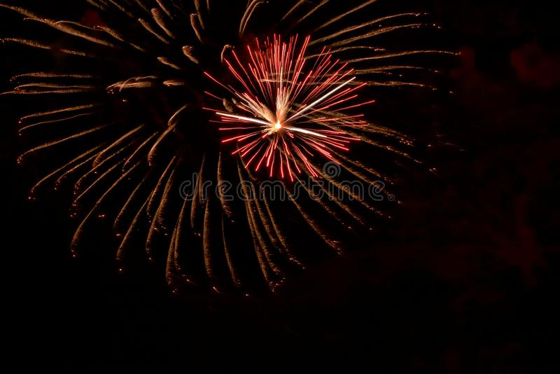 Fireworks light up the holiday sky in a Florida fishing village royalty free stock photography
