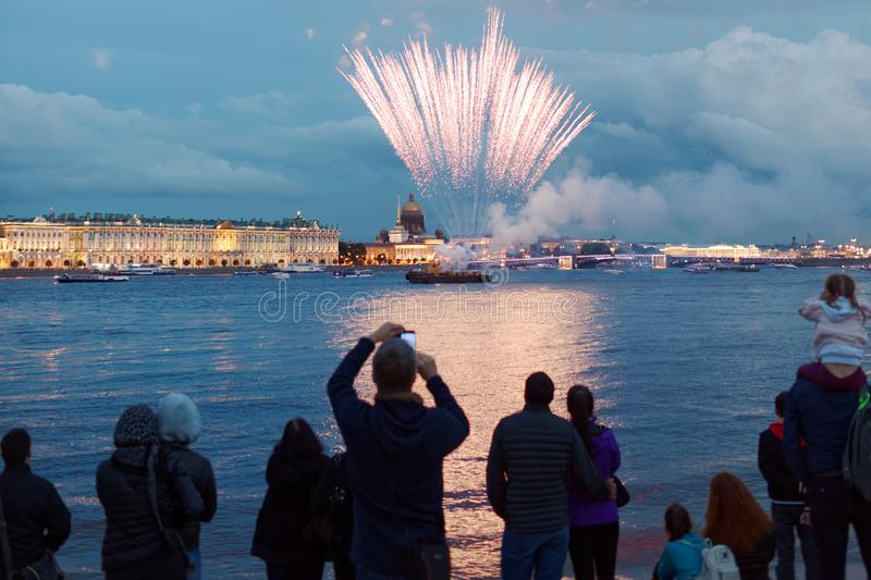 Fireworks Light Up the Skies Over St. Petersburg, Russia royalty free stock photos