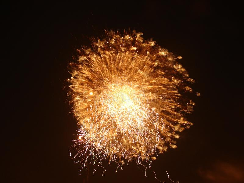 Fireworks light up the sky with dazzling display stock photography