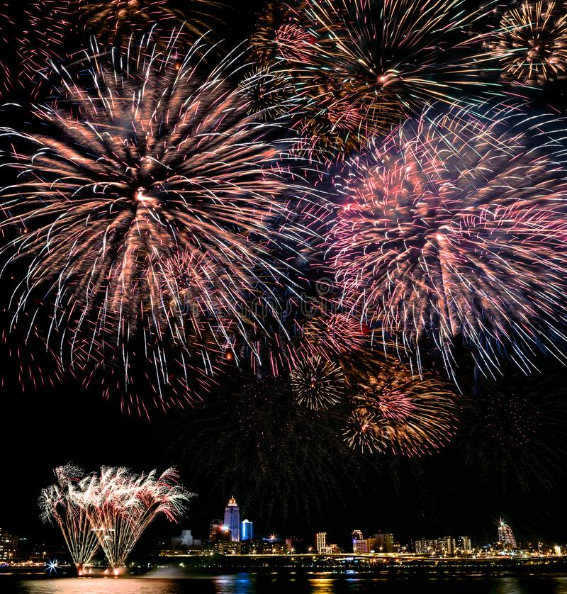 Fireworks light up the sky with dazzling display on dark background in taipei stock photo
