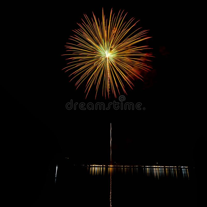 Fireworks light up the sky with dazzling display.  stock image