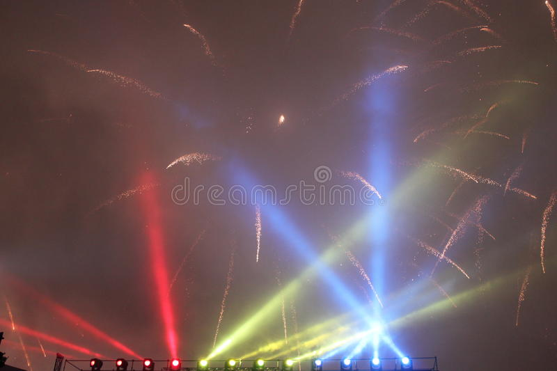 Fireworks and lights stock images