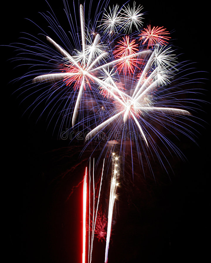 Fireworks Lights Explosions red white blue stock images