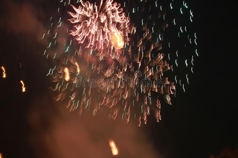 Fireworks lit a spark, so beautiful in the night Festival royalty free stock photography