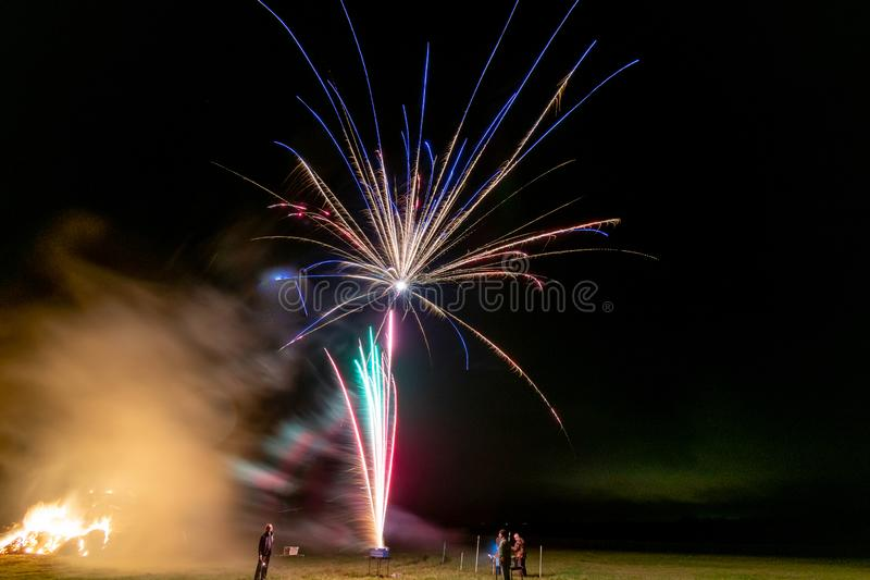 Fireworks. Long exposure of fireworks in the sky royalty free stock photography