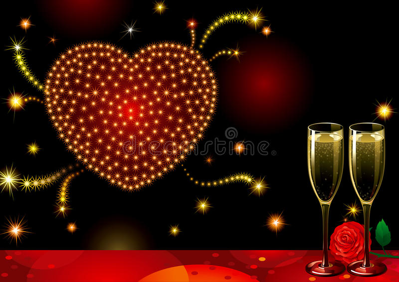 Fireworks Of Love Stock Photo