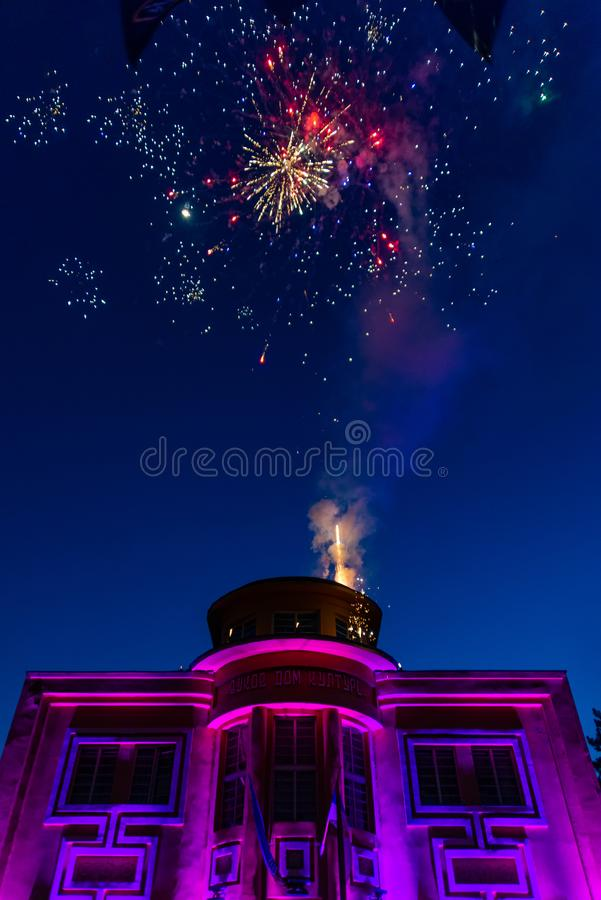 Fireworks in Loznica. Loznica, Serbia - July 10, 2019: Vuk`s House of Culture serbian: Vukov dom kulture in the center of Loznica. Fireworks in Loznica royalty free stock photography