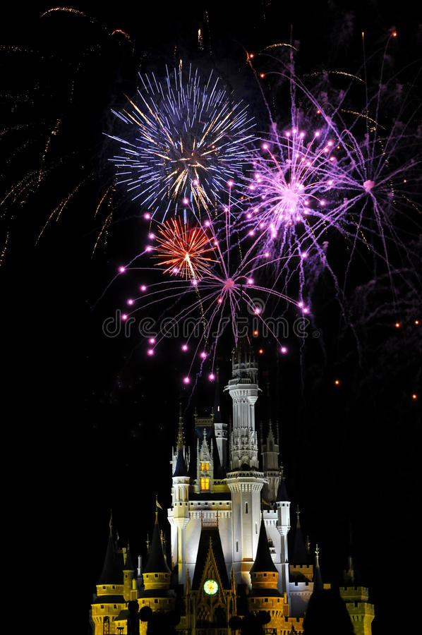 Fireworks in the Magic Kingdom. ORLANDO - APRIL 12: Fireworks over Cinderella's castle in the Magic Kingdom in Orlando, FL on April 12, 2008 stock photos