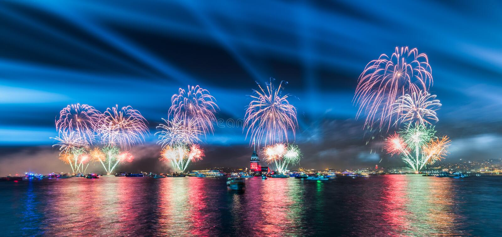 Fireworks with MAIDEN`S TOWER KIZ KULESI royalty free stock images