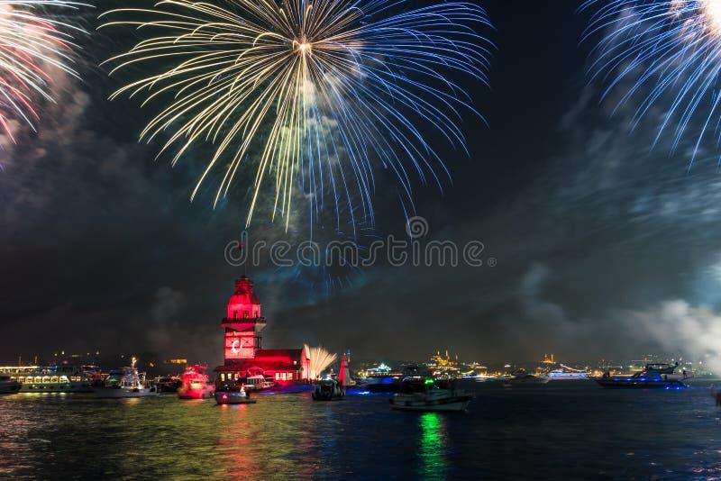 Fireworks with MAIDEN`S TOWER KIZ KULESI stock image
