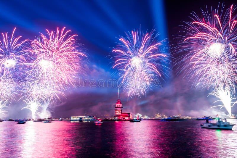 Fireworks with MAIDEN`S TOWER KIZ KULESI royalty free stock photo