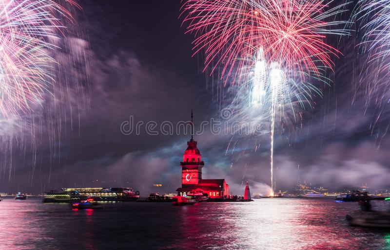 Fireworks with MAIDEN`S TOWER KIZ KULESI royalty free stock photography