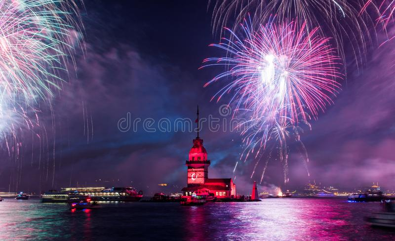 Fireworks with MAIDEN`S TOWER KIZ KULESI stock photos