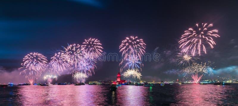 Fireworks with MAIDEN`S TOWER KIZ KULESI stock photography