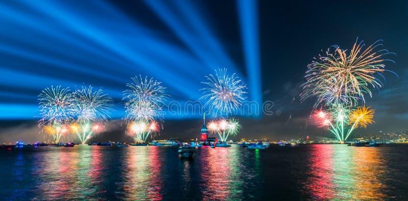 Fireworks with MAIDEN`S TOWER KIZ KULESI stock photo