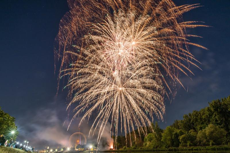Fireworks of the Maidult with Ferris wheel in Regensburg, Germany.  royalty free stock image