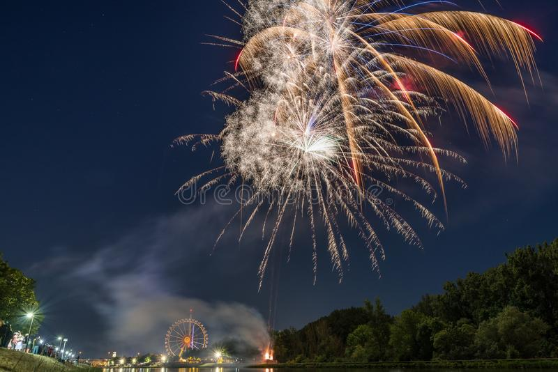 Fireworks of the Maidult with Ferris wheel in Regensburg, Germany.  royalty free stock photo
