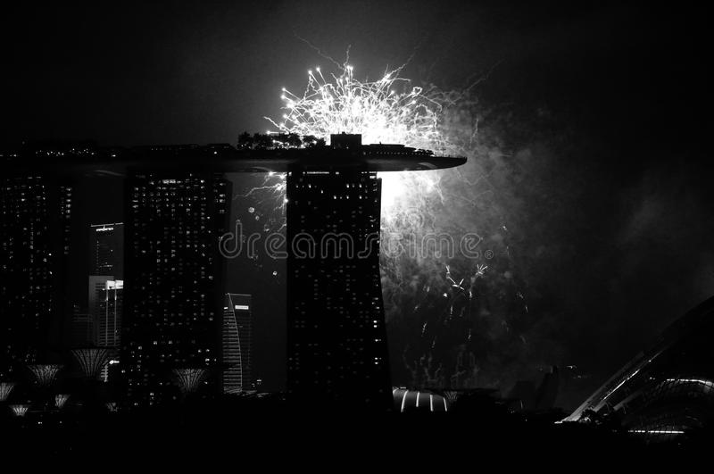 Fireworks before the Marina Bay Sands Hotel during the Singapore 53rd National day on 9th August 2018 royalty free stock photos