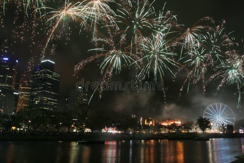 fireworks melbourne στοκ φωτογραφία
