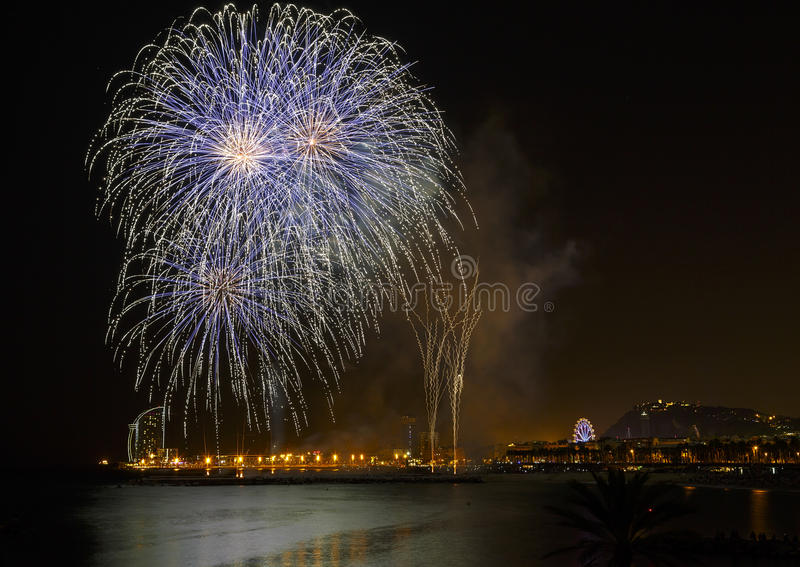 Fireworks Mercy 2013 in Barcelona. Fireworks to celebrate the Day of Mercy 2013 in Barcelona Spain royalty free stock image