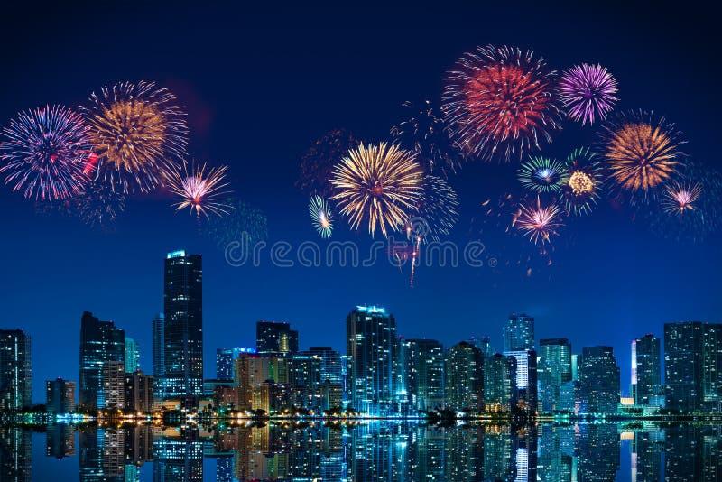 Fireworks in Miami stock image