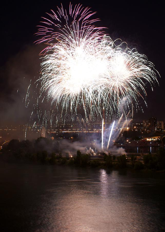 Fireworks in Montreal stock images