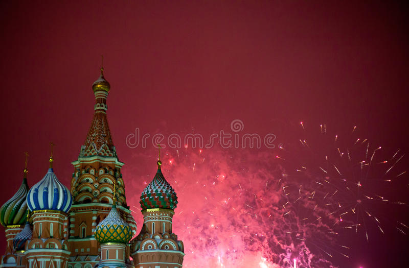 Fireworks in Moscow. On red square near the Kremlin stock photos