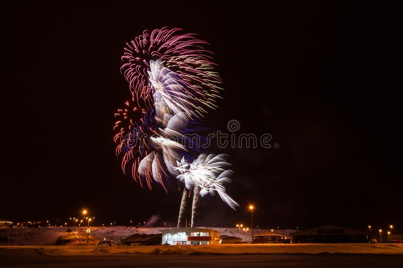 Fireworks. Multiple fireworks in the shape of a rooster royalty free stock photography