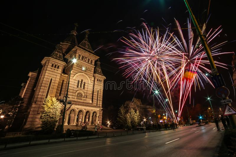 Fireworks near the Orthodox Cathedral in Timisoara. On the occasion of Romanian National Day royalty free stock images