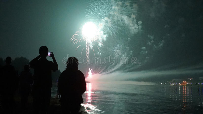 Fireworks. New celebration party year night happy stock photography
