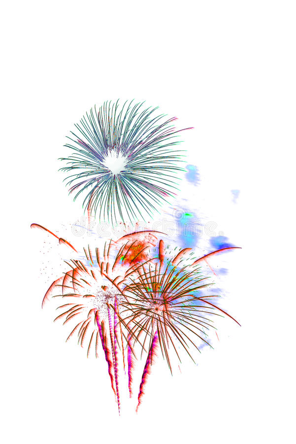 fireworks new year 2017 - beautiful colorful firework isolated stock images