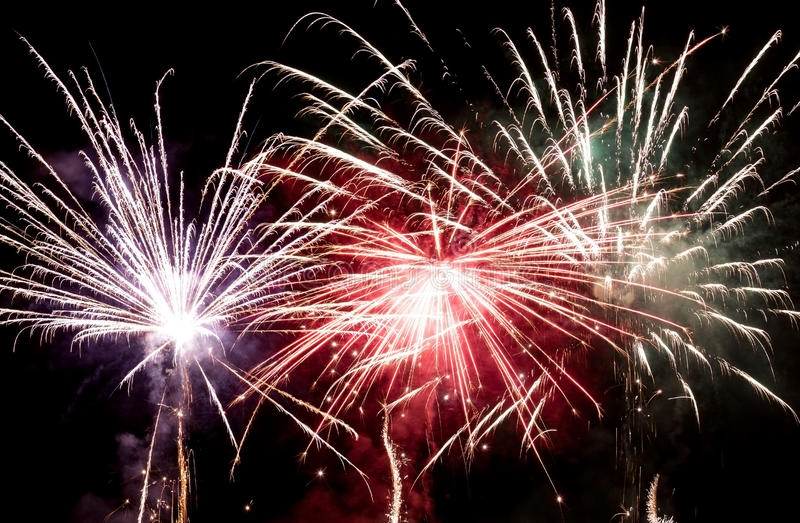 Fireworks. New year celebration with fireworks royalty free stock photos