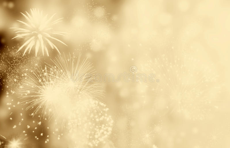 Fireworks at New Year and copy space - abstract holiday background stock image