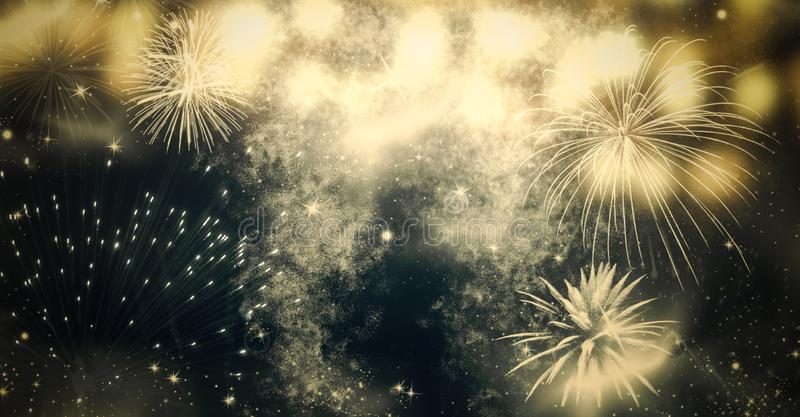 Fireworks at New Year and copy space - abstract holiday background. 2017, anniversary, artificial, backdrop, blur, bokeh, bright, celebrate, celebration stock photos