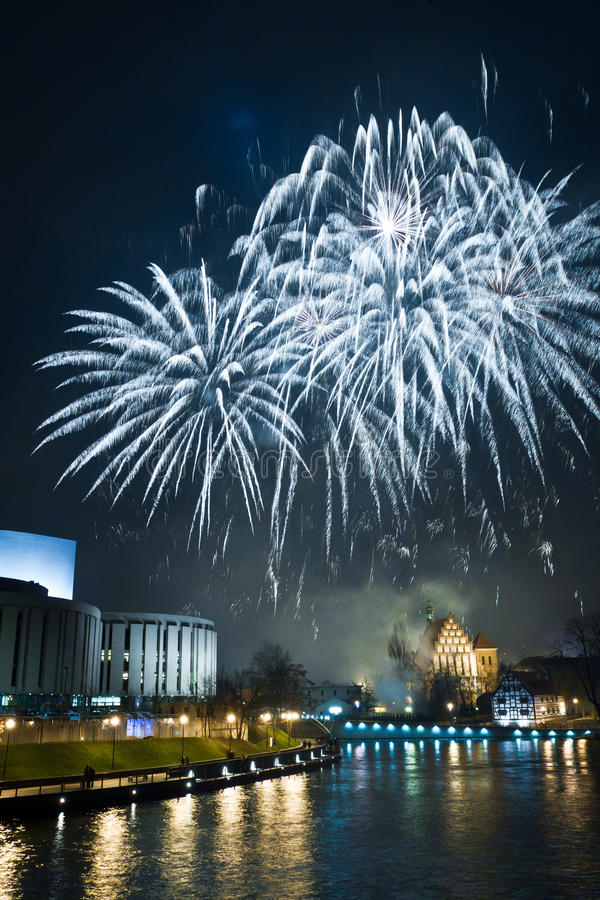 Fireworks and New Year's Eve royalty free stock photography