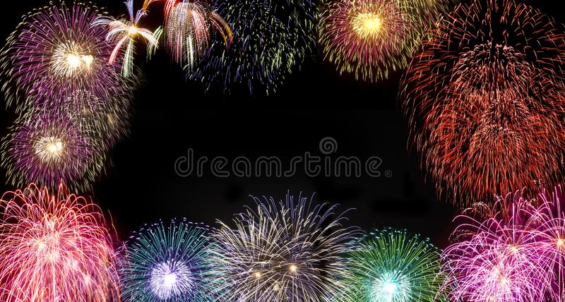 Fireworks during new year`s day celebration. Fireworks during new year`s party celebration royalty free stock photography