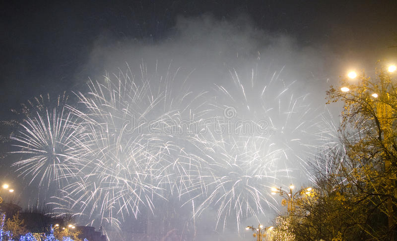 Fireworks on New Years Eve. In Bucharest, Romania royalty free stock image