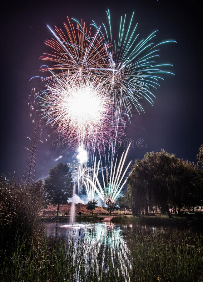 Fireworks at night in new year stock photography
