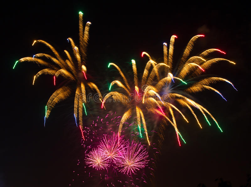 Download Fireworks at night stock photo. Image of multi, fire - 16148224