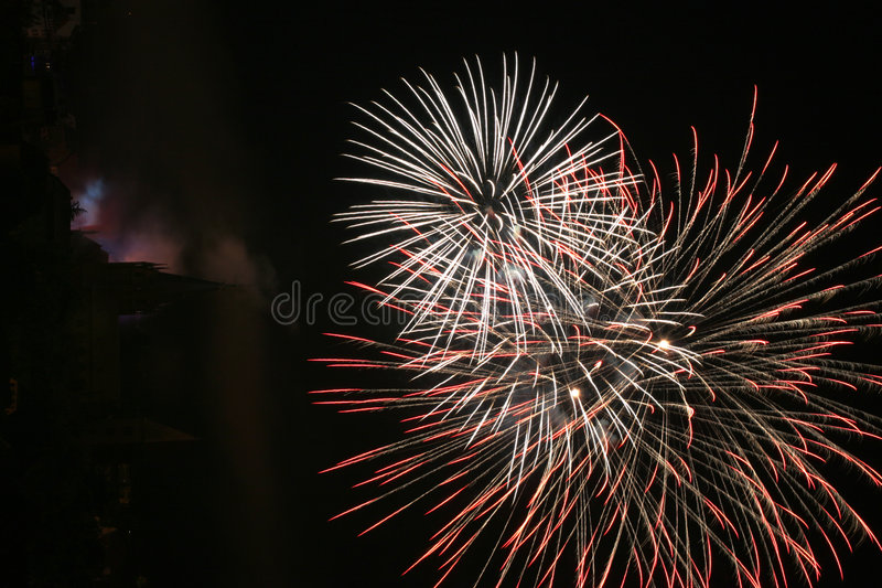 Fireworks by night royalty free stock photo